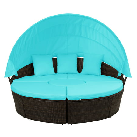 Clearance! 5 Piece Outdoor Sectional Sofa Conversation Set for Backyards, SEGMART Round Wicker Rattan Daybed with Retractable Canopy, Removable Cushions, All-Weather Sunbed for Gardens, 330lbs, S1790