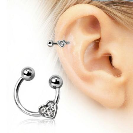 Heart Gemmed Horseshoe WildKlass Cartilage Earring 316L Surgical Steel