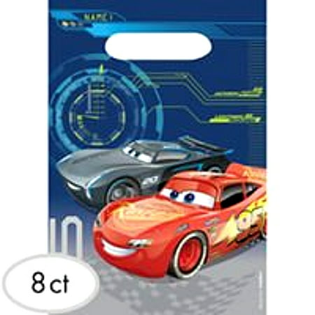 Disney Cars 3 Party Favor Loot Bag, 8 count