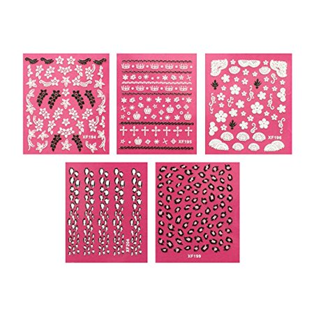 Wrapables® Nail Art Self-Adhesive Nail Stickers 3D Nail Decals - Sparkly Flowers, Leopard, Crowns & Cross (5 sheets) by AllyDrew (Nail Wall Cross)