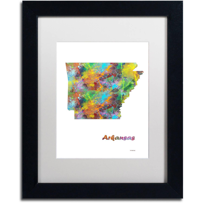 "Trademark Fine Art ""Arkansas State Map-1"" Canvas Art by Marlene Watson, White Matte, Black Frame"