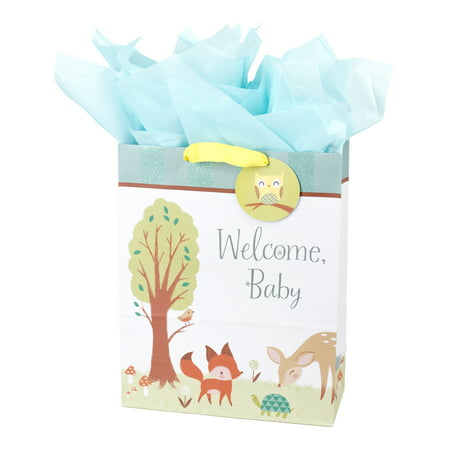 Hallmark Extra Large New Baby Gift Bag with Tissue Paper (Animals) - Large Paper Bags