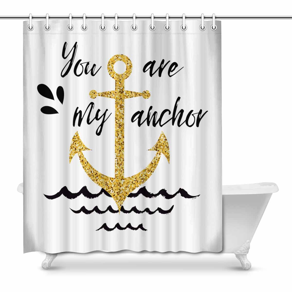MKHERT Golden Nautical Anchor with Love Quotes You are My Anchor House  Decor Shower Curtain for Bathroom Decorative Bathroom Shower Curtain Set  66x72 ...