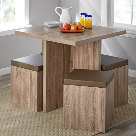 Mainstays 5 Piece Dexter Dining Set with Storage Ottoman, Multiple Colors ()