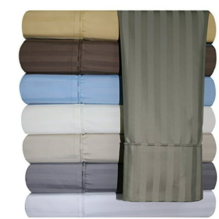 620-Thread-Count Sheet Set, Wrinkle-Free Cotton-Blend Sheets, Sateen Striped, Extra-Deep-Pocket, King size,