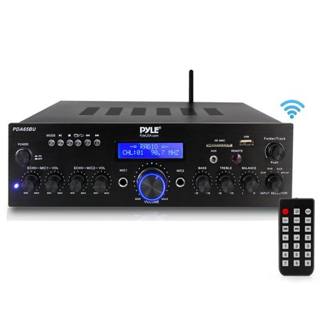 Gli Stereo Amplifier - Pyle PDA65BU Compact Home Theater Amplifier Stereo Receiver with Bluetooth Wireless Streaming, MP3/USB/SD/AUX/FM Radio, AV Inputs (200 Watt)