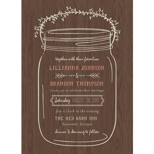 Mason Jar Standard Wedding Invitation   Walmart.com