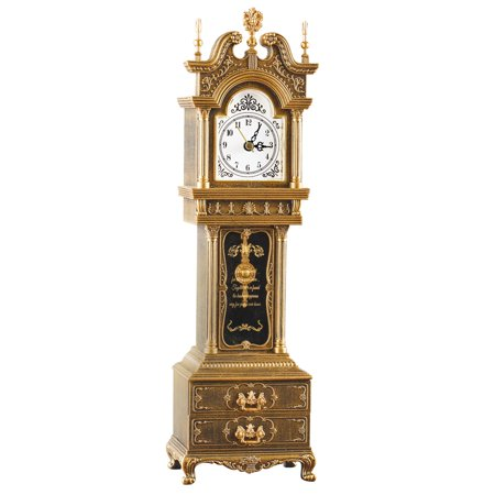 Antique Grandfather Clock Music Box with Storage, Plays Fur Elise - Tabletop Decor Home Accent, Antique Bronze