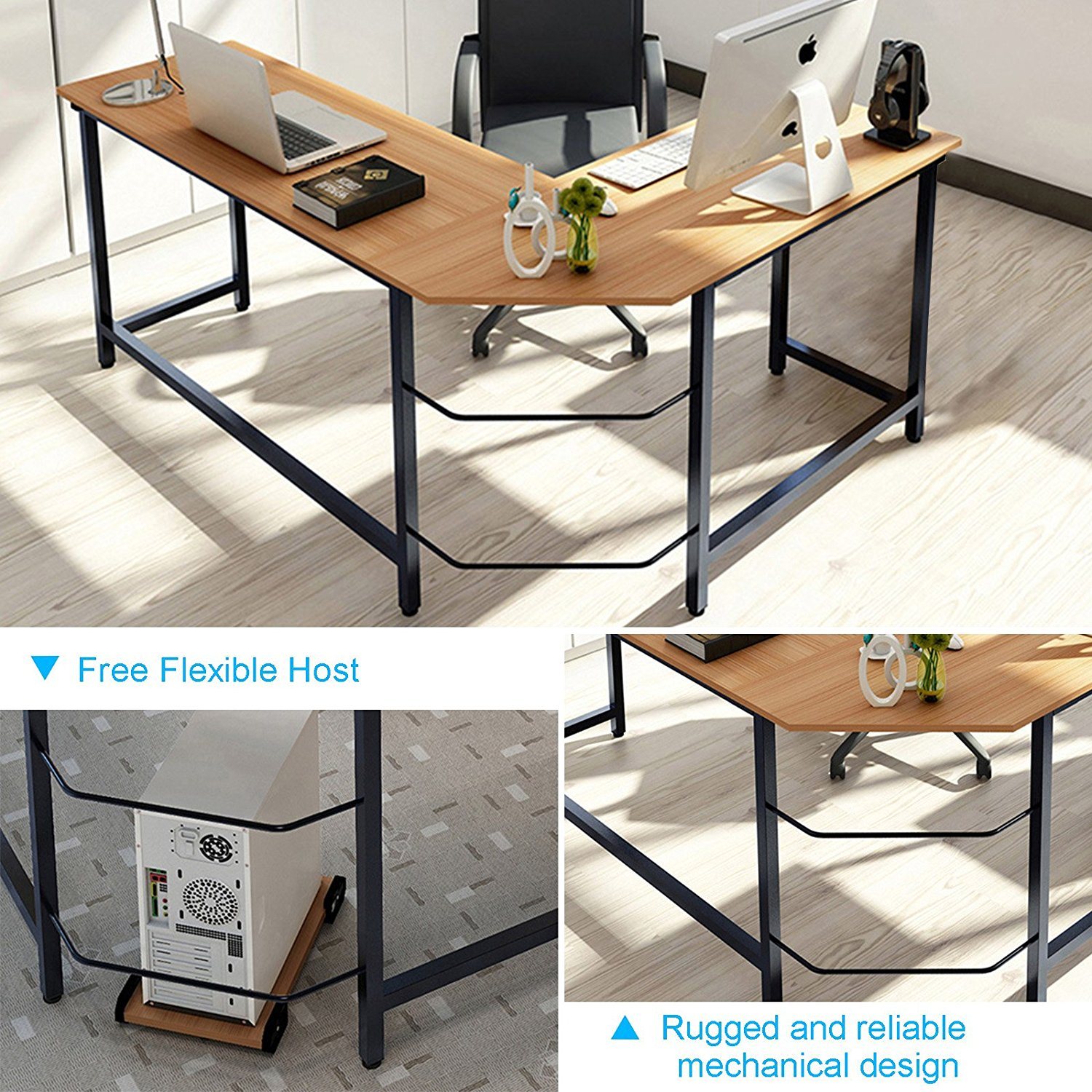 Tribesigns Modern L Shaped Desk Corner Computer Pc Latop Study Table Workstation Home Office Wood Metal Teak Com