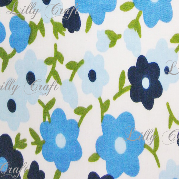 Flannel Pansy Flower Blue 45 Inch Fabric by the 5 Yard Bolt