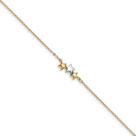 """14k Yellow and White Gold Two Tone Star 1in Extension Anklet - with Secure Lobster Lock Clasp 9.5"""""""" (Width = 1mm ) -  AA Jewels"""