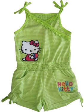 beed6912d857 Product Image Sanrio Little Girls Green Hello Kitty Ruffle Drawstring  Detail Romper 5