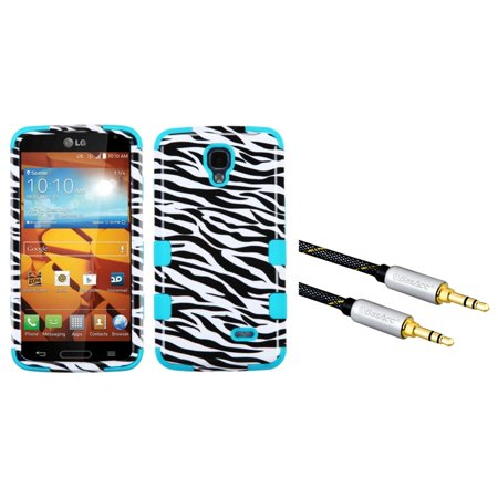 Insten Zebra Skin/Tropical Teal TUFF Hybrid Hard Phone Cover Case For LG Volt LS740 (with 3.5mm Audio Extension Cable) (2-in-1 Accessory Bundle)