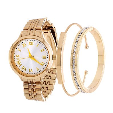 Fortune NYC Arm Candy Ladie's Fashion Gold Case / Silver Dial Watch with a Set of 2 Bracelets Dial Bracelet Watch Set
