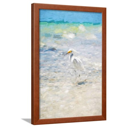 Ebbets Framed (White Egret - In the Style of Oil Painting Framed Print Wall Art By Philippe Hugonnard )