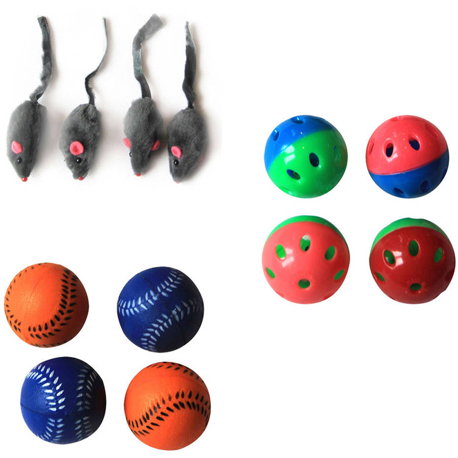 Iconic Pet Fur Mice, Plastic Ball and Bouncing Softball, Set of 3