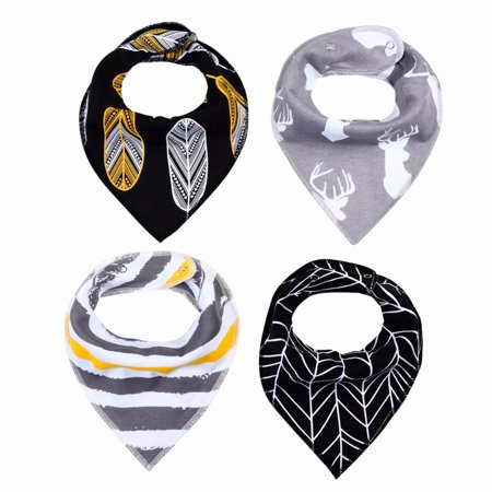 Akoyovwerve 4Pcs Baby Infant Toddler Soft Triangle Bandana Drool Bib Saliva Towel with Pacifier Clip for 0-3 Years Baby,Size (Towel Baby Bibs)