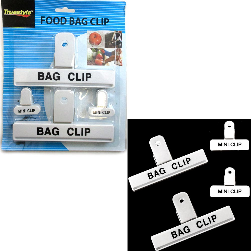 4 Pc Food Chip Bag Clips Assorted Size Multi Purpose Mini Clip Craft Clothespin