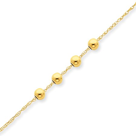 14k Yellow Gold 4 4mm Bead Chain Necklace Pendant Charm Station