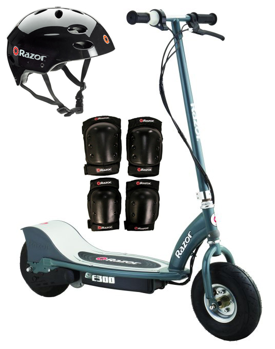 Razor E300 Electric 24V Motorized Scooter (Grey) w  Helmet, Elbow and Knee Pads by