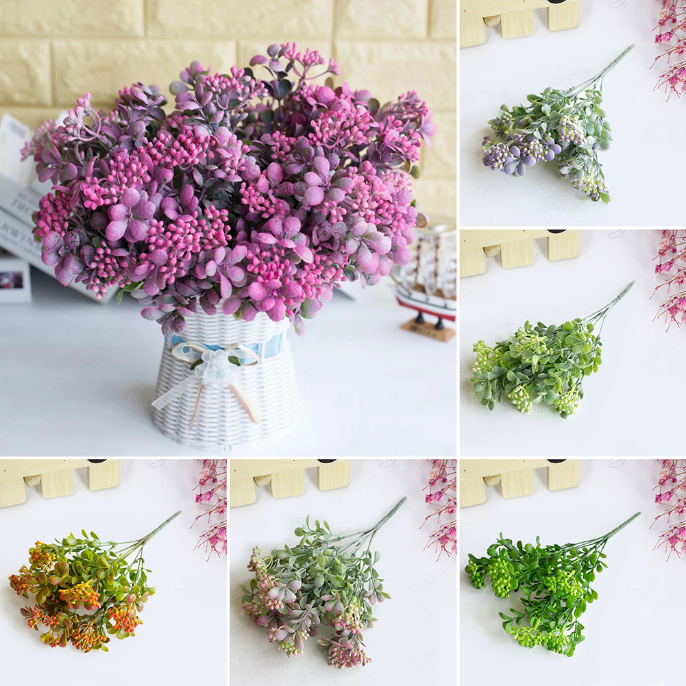 Heepo 1 Bouquet Small Fruits Artificial Plant 7 Branches Wedding Hotel Home Decoration