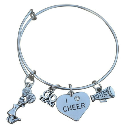 Cheer Bangle Bracelet for Cheerleaders, Cheerleading Gift for Teens and Girls (Contemporary Bangle Collection)