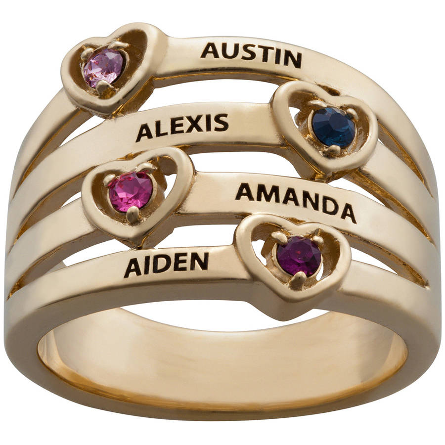 Personalized Mother's Gold-Plated Birthstone and Name with Heart Stack Ring