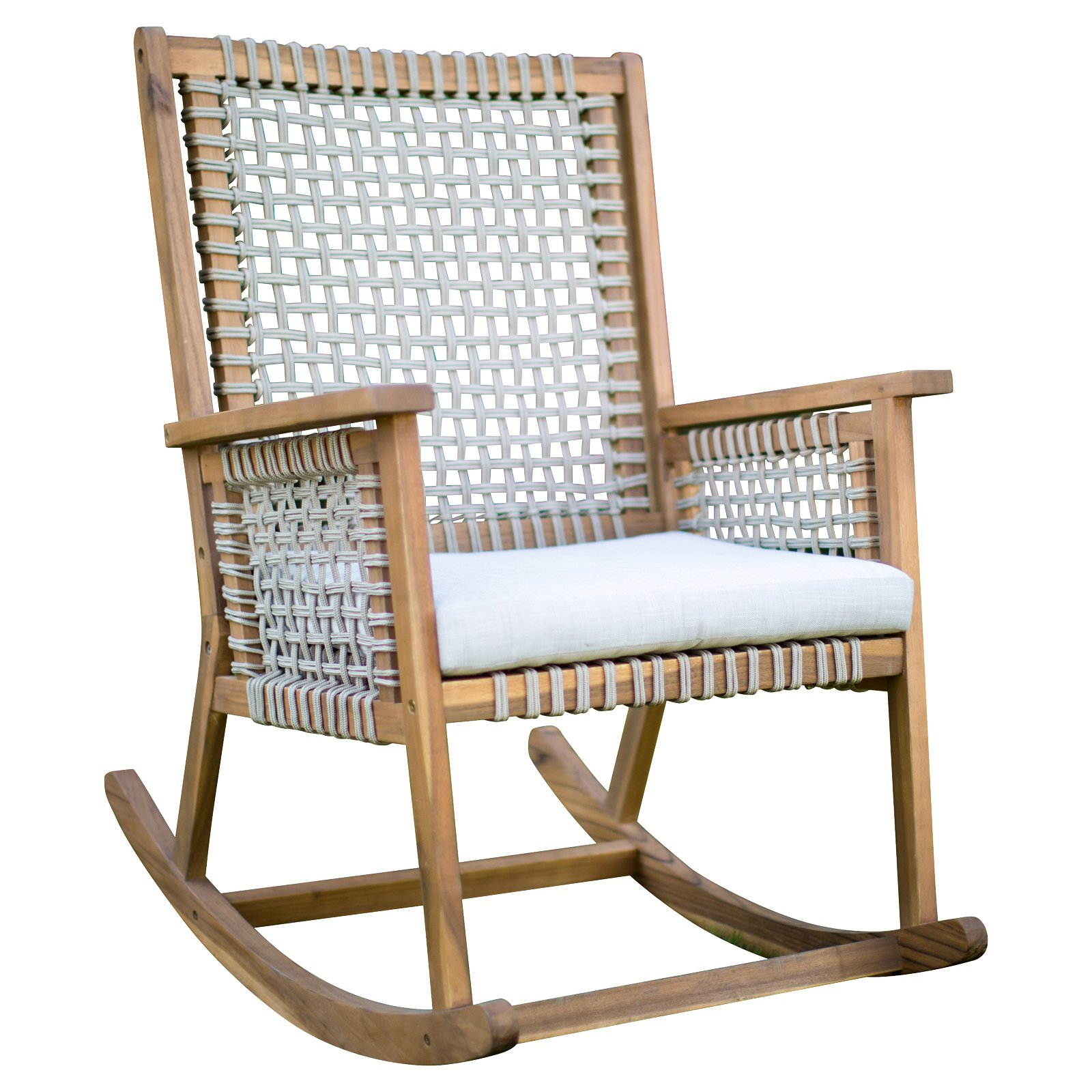 Belham Living Raeburn Rope and Wood Outdoor Rocking Chair