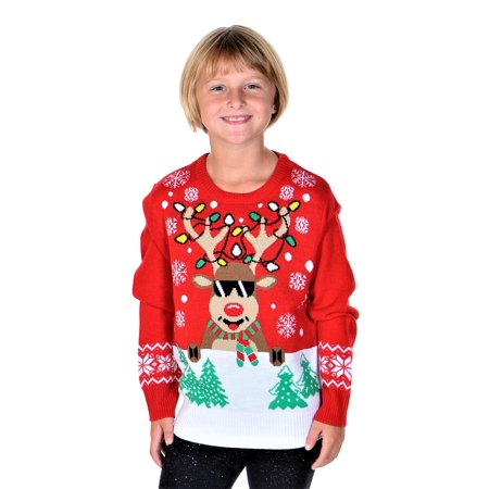 Girls Ugly Sweater (SoCal Look Girls Ugly Christmas Sweater Rudolph The Red Nose Pullover)