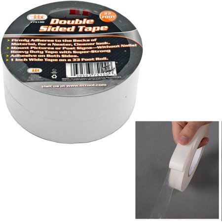 - 2 Rolls Double Sided Tape Transparent Heavy Duty Mounting Adhesive 33Ft x1