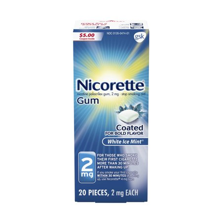 Nicorette Nicotine Gum, Stop Smoking Aid, 2 mg, White Ice Mint Flavor, 20 count