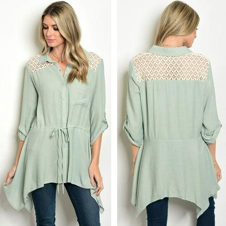 bc4bdd216 JED FASHION - JED FASHION Women's 3/4 Sleeve Button Down Asymmetrical Tunic  Shirt - Walmart.com