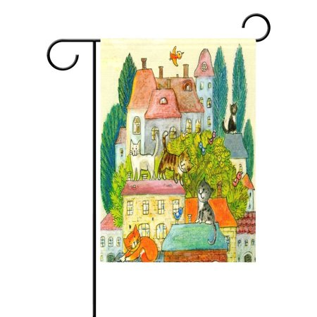 POPCreation Painting Cat Kitten House Garden Flag Bird Watercolor Outdoor Flag Home Party 28x40 inches