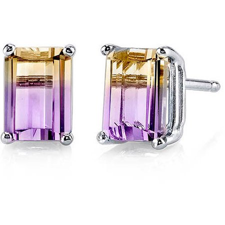 Oravo 2.00 Carat T.G.W. Emerald-Cut Created Ametrine 14kt White Gold Stud Earrings
