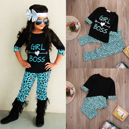 2PCS Toddler Kids Baby Girls Outfits T-shirt Tops Dress+ Long Pants Clothes Set