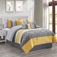 Chezmoi Collection Arden 7-Piece Modern Pleated Stripe Embroidered Zigzag Comforter Set