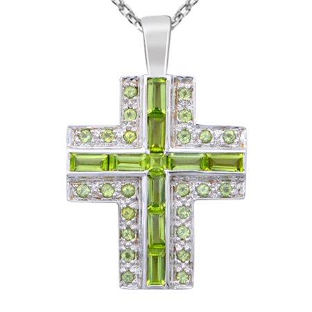 925 Sterling Silver 7 1/10 Carat Peridot Cross - Cut Peridot Cross