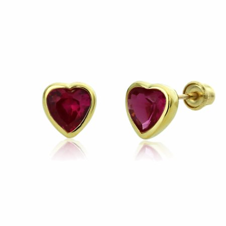 14K Solid Yellow Gold 6mm Heart Red CZ Bezel Set Screw Back Stud