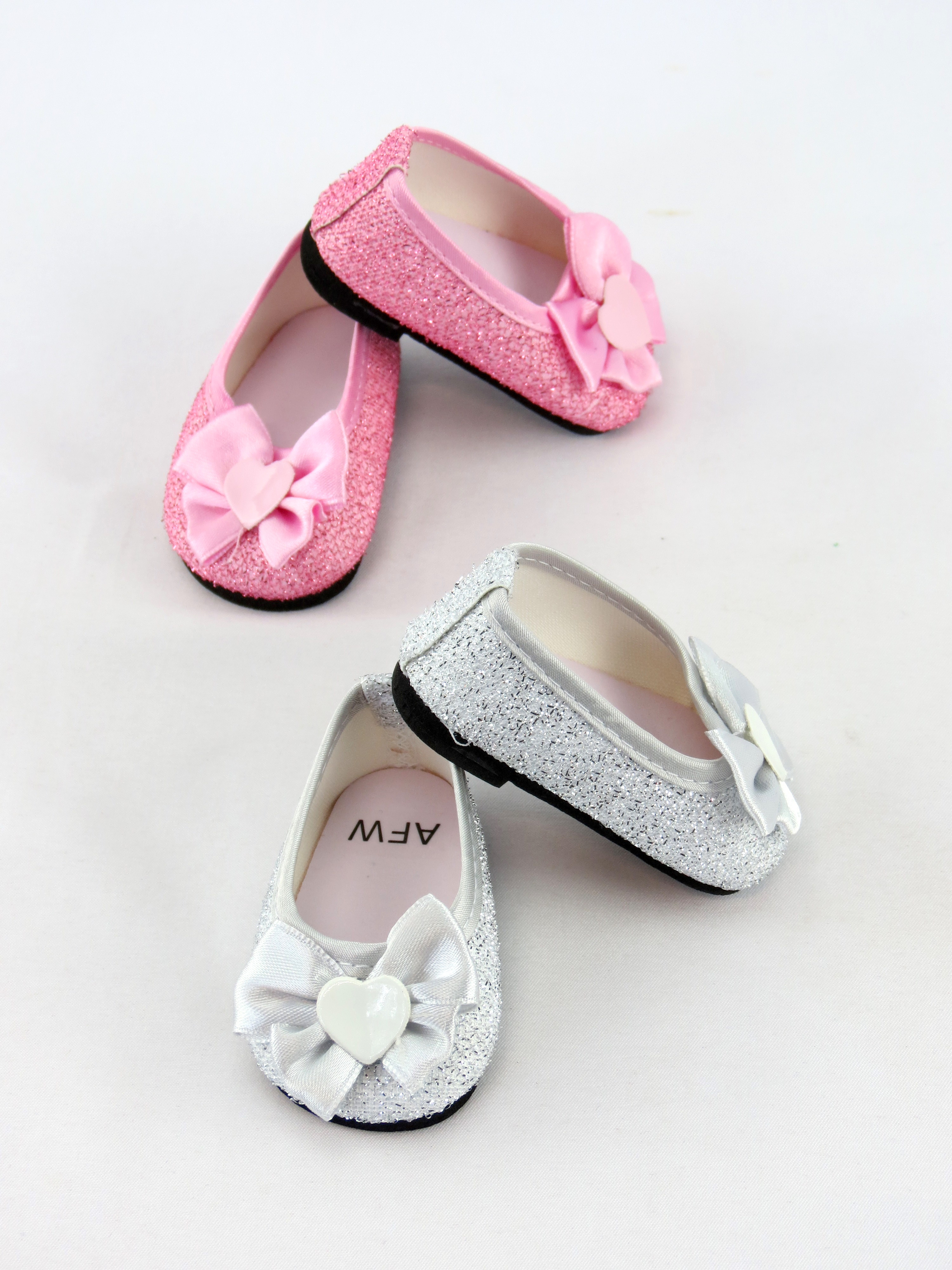 """2 pack of bow flats- silver and pink 