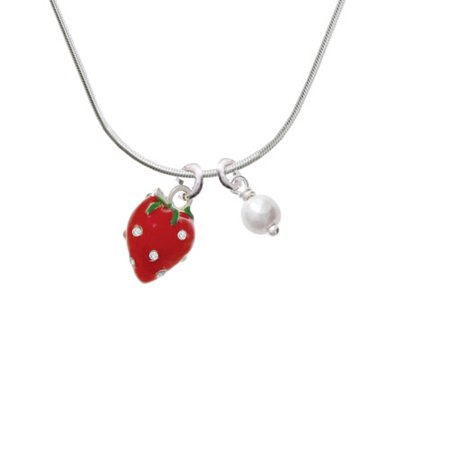Large 3-D Red Strawberry with Crystals - Imitation Pearl Bicone Crystal Necklace