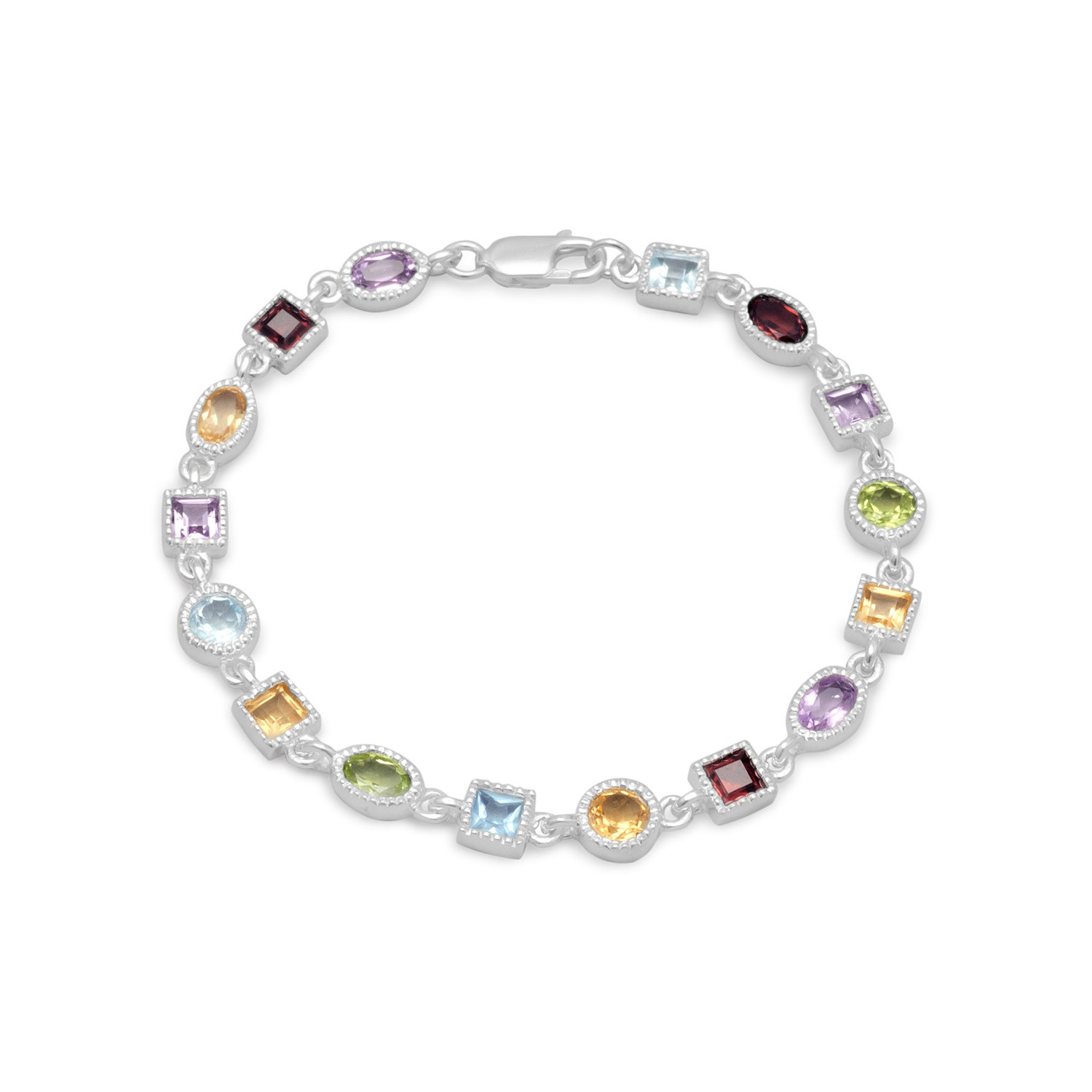Garnet, Citrine, Amethyst, Peridot, Blue Topaz Sterling Silver Multistone Bracelet by unknown