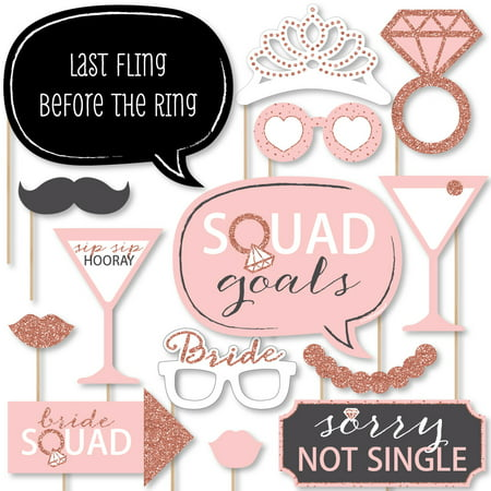 Bride Squad - Rose Gold Bridal Shower or Bachelorette Party Photo Booth Props Kit - 20 Count](Bachlorette Party)
