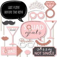Bride Squad - Rose Gold Bridal Shower or Bachelorette Party Photo Booth Props Kit - 20 Count
