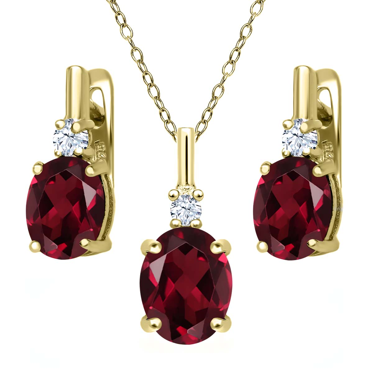 6.68 Ct Red Rhodolite Garnet White Topaz 18K Yellow Gold Plated Silver Pendant Earrings Set by