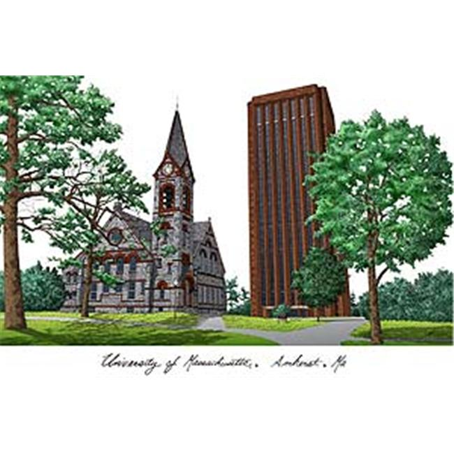 University of Massachusetts Campus Images Lithograph Print
