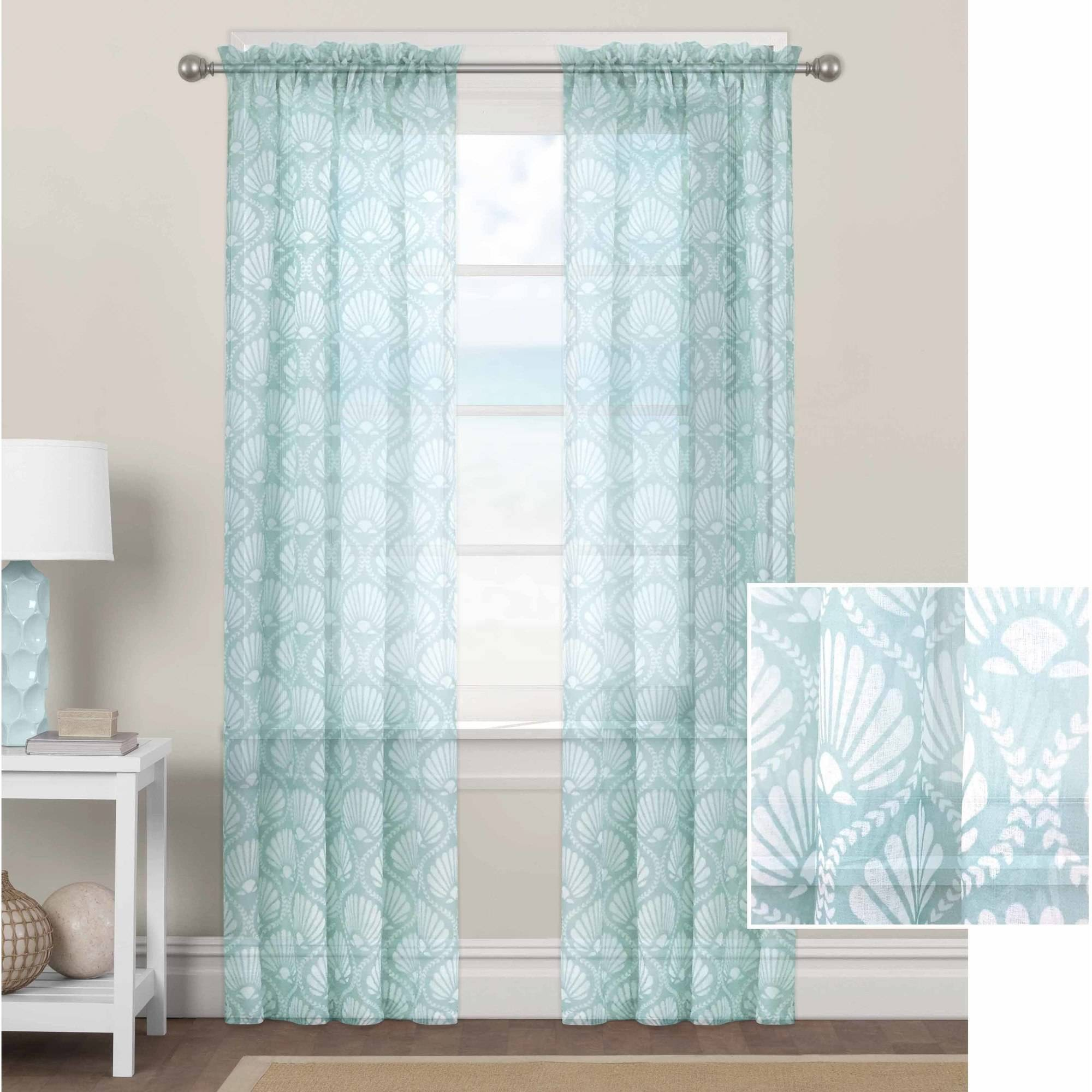 Better Homes And Gardens Aqua Venus Shells Sheer Curtain Panel   Walmart.com