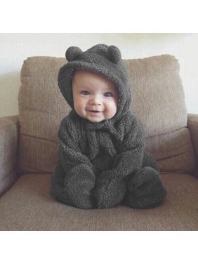 Newborn Unisex Baby Hoodie Rompers Autumn Winter Long Sleeve Jumpsuit with Ears