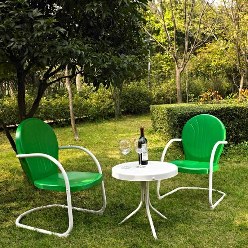 Griffith 3 Piece Metal Outdoor Conversation Seating Set - Two Chairs with Side Table -Chair Color:Grasshopper Gr
