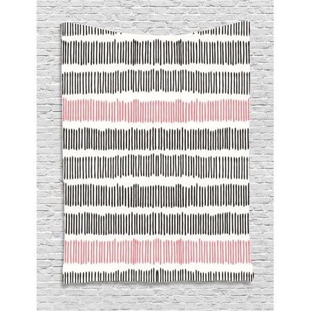 Abstract Tapestry, Hand Drawn Short Vertical Lines Retro Horizontal Stripes  Hipster Doodle, Wall Hanging for Bedroom Living Room Dorm Decor, Black