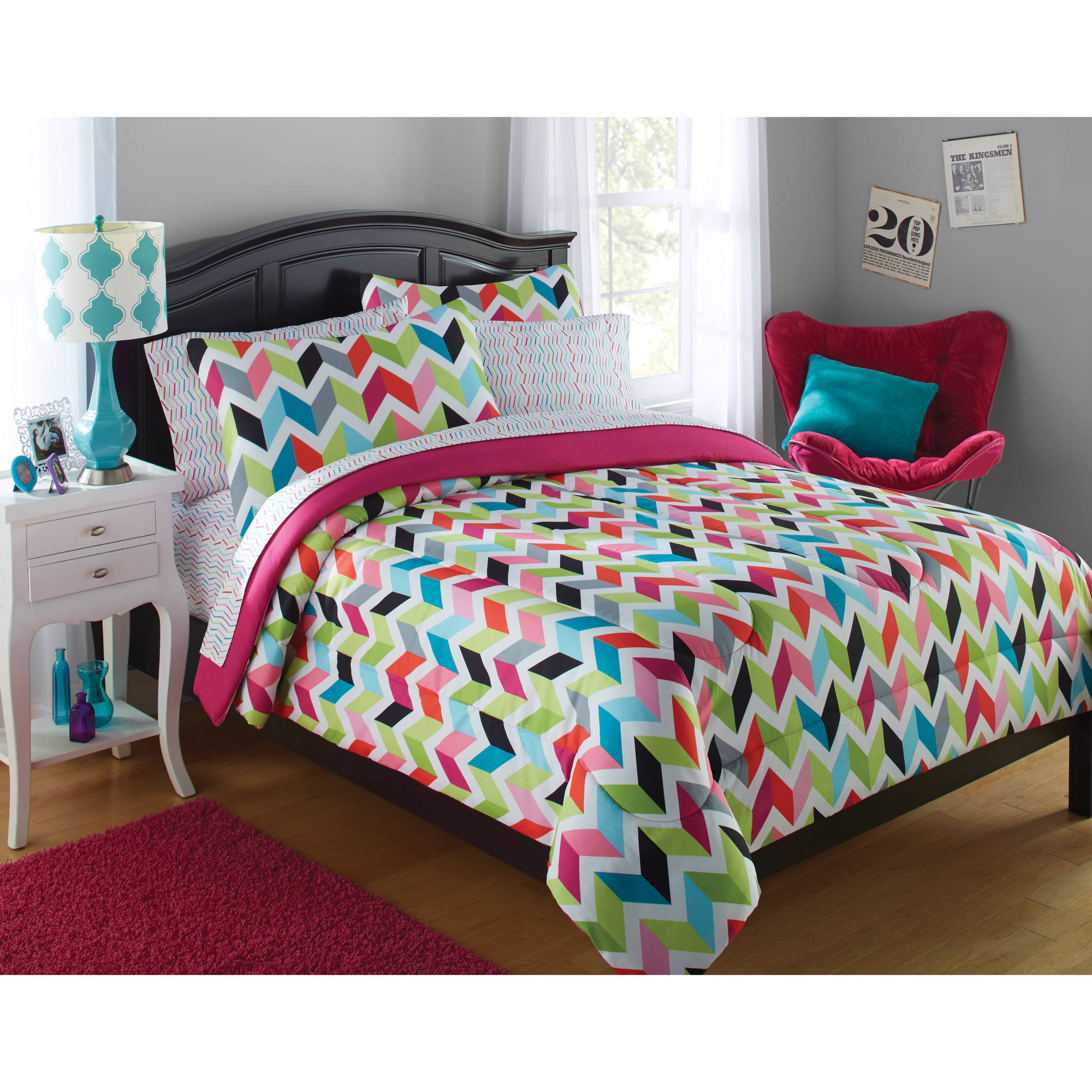 Your Zone Bright Chevron Print Bed In A Bag Set 1 Each Walmart Com